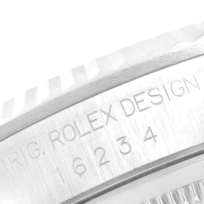 Rolex Datejust Silver Dial Fluted Bezel Steel White Gold Mens Watch 16234 SwissWatchExpo