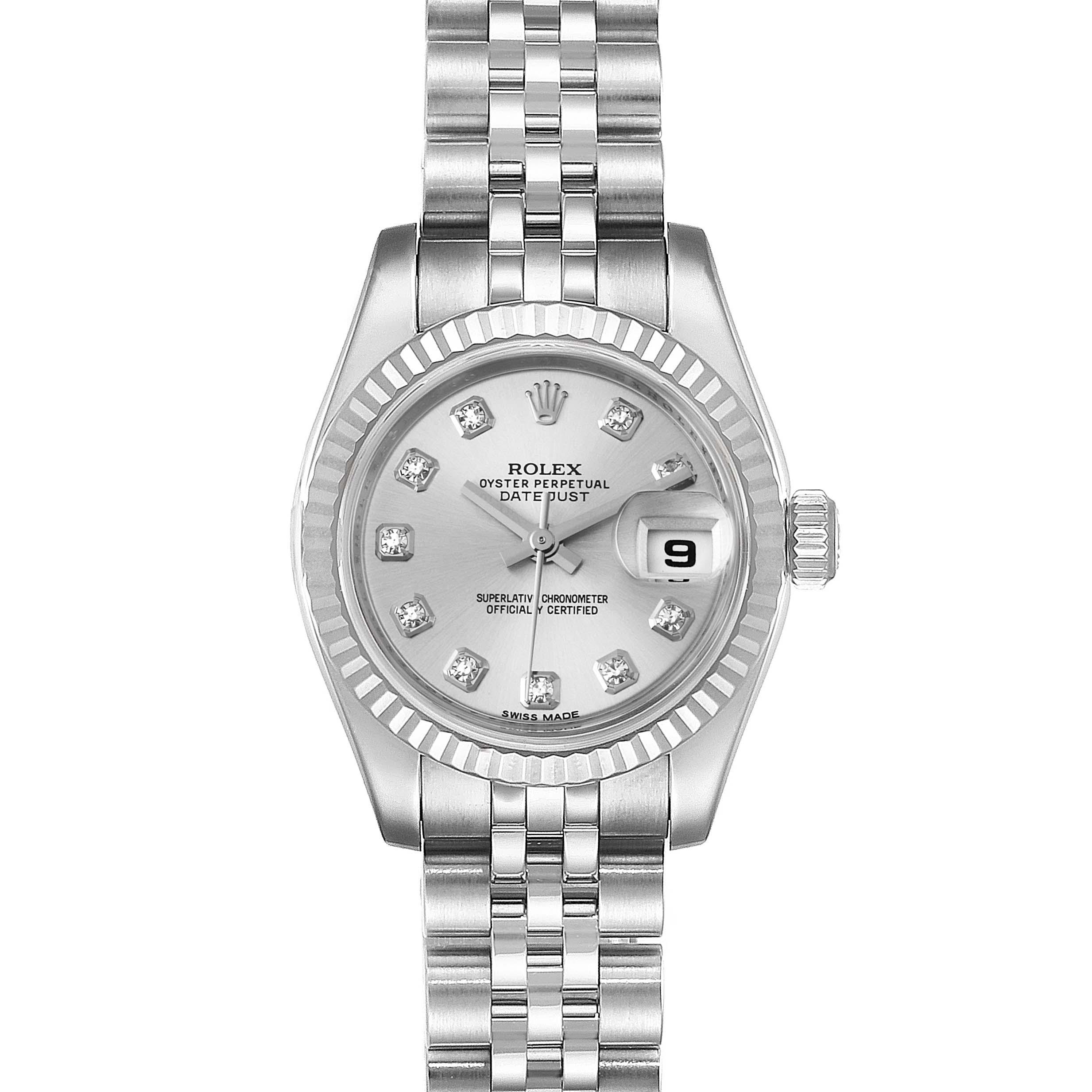 Photo of Rolex Datejust Steel White Gold Diamond Ladies Watch 179174 Box Card