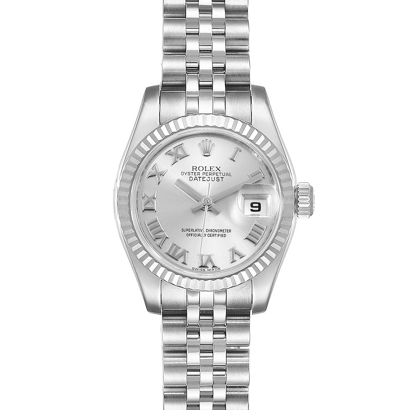 Rolex Datejust Steel White Gold Rhodium Roman Dial Ladies Watch 179174 SwissWatchExpo
