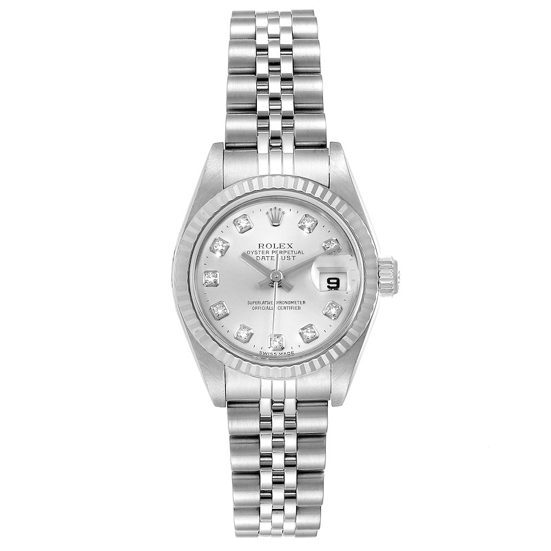 Rolex Datejust Steel White Gold Silver Diamond Dial Ladies Watch 79174 SwissWatchExpo