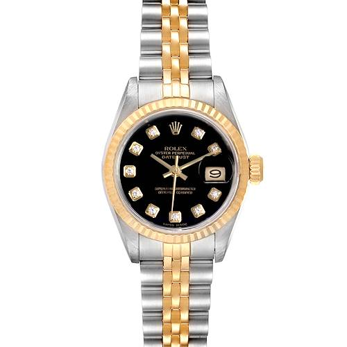 Photo of Rolex Datejust Steel Yellow Gold Black Diamond Dial Ladies Watch 69173