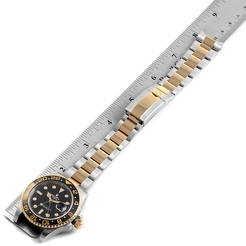 Rolex GMT Master II Yellow Gold Steel Mens Watch 116713 Box Papers SwissWatchExpo