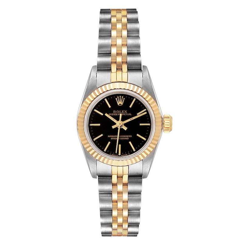 Rolex Oyster Perpetual Black Dial Steel Yellow Gold Ladies Watch 67193 SwissWatchExpo