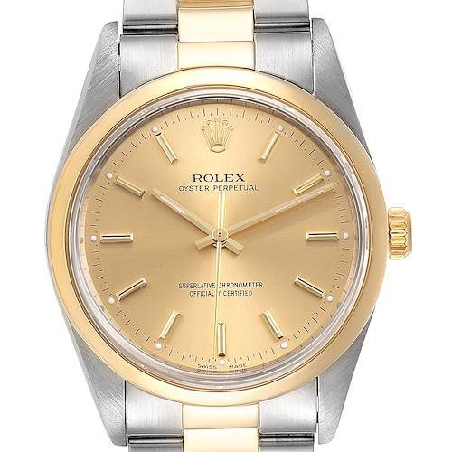 Photo of Rolex Oyster Perpetual Nondate Steel Yellow Gold Mens Watch 14203