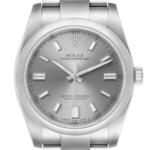 Photo of Rolex Oyster Perpetual Rhodium Dial Steel Mens Watch 116000 Box Card