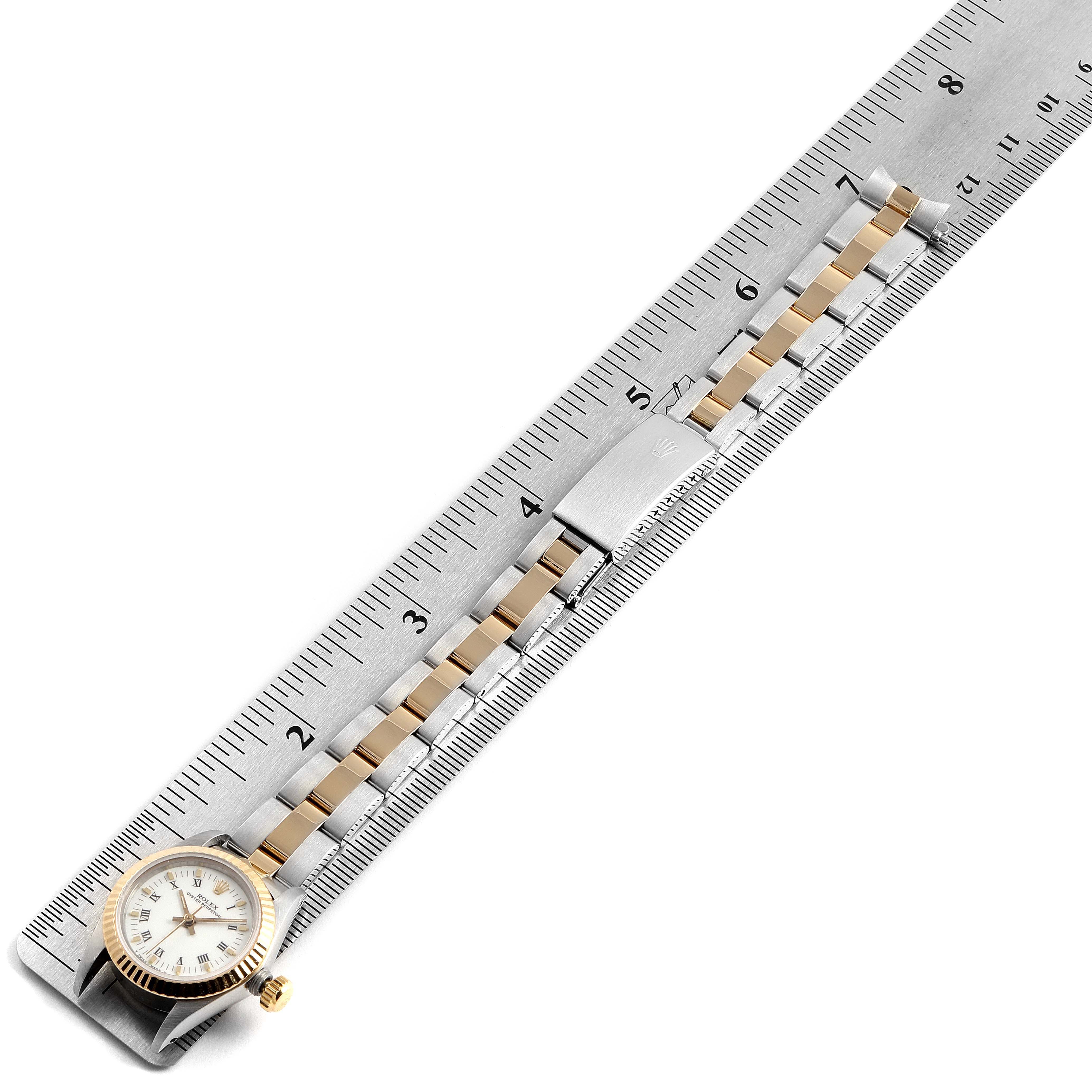 Rolex Oyster Perpetual Steel Yellow Gold White Dial Ladies Watch 67193 SwissWatchExpo
