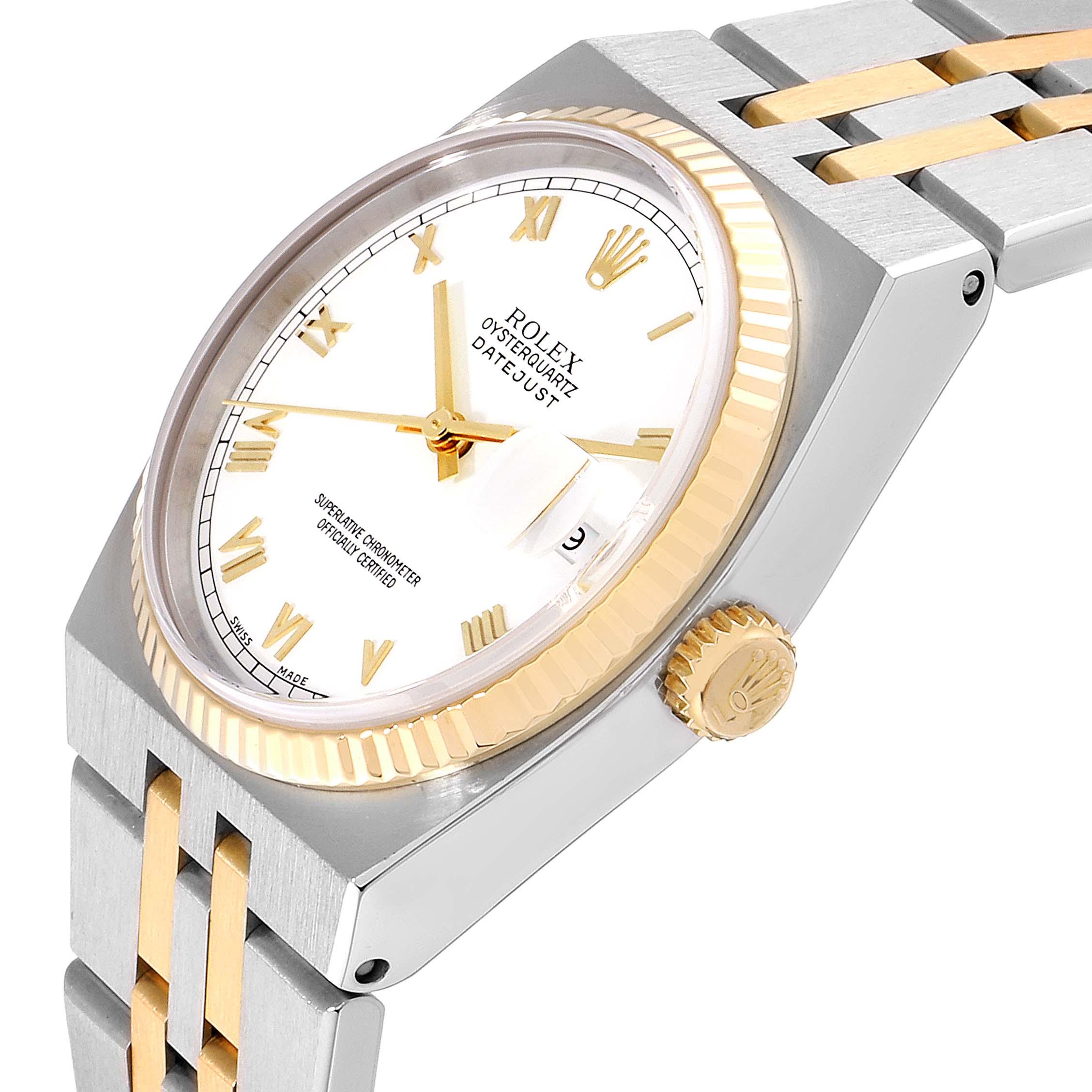 Rolex Oysterquartz Datejust Steel Yellow Gold White Dial Watch 17013 SwissWatchExpo
