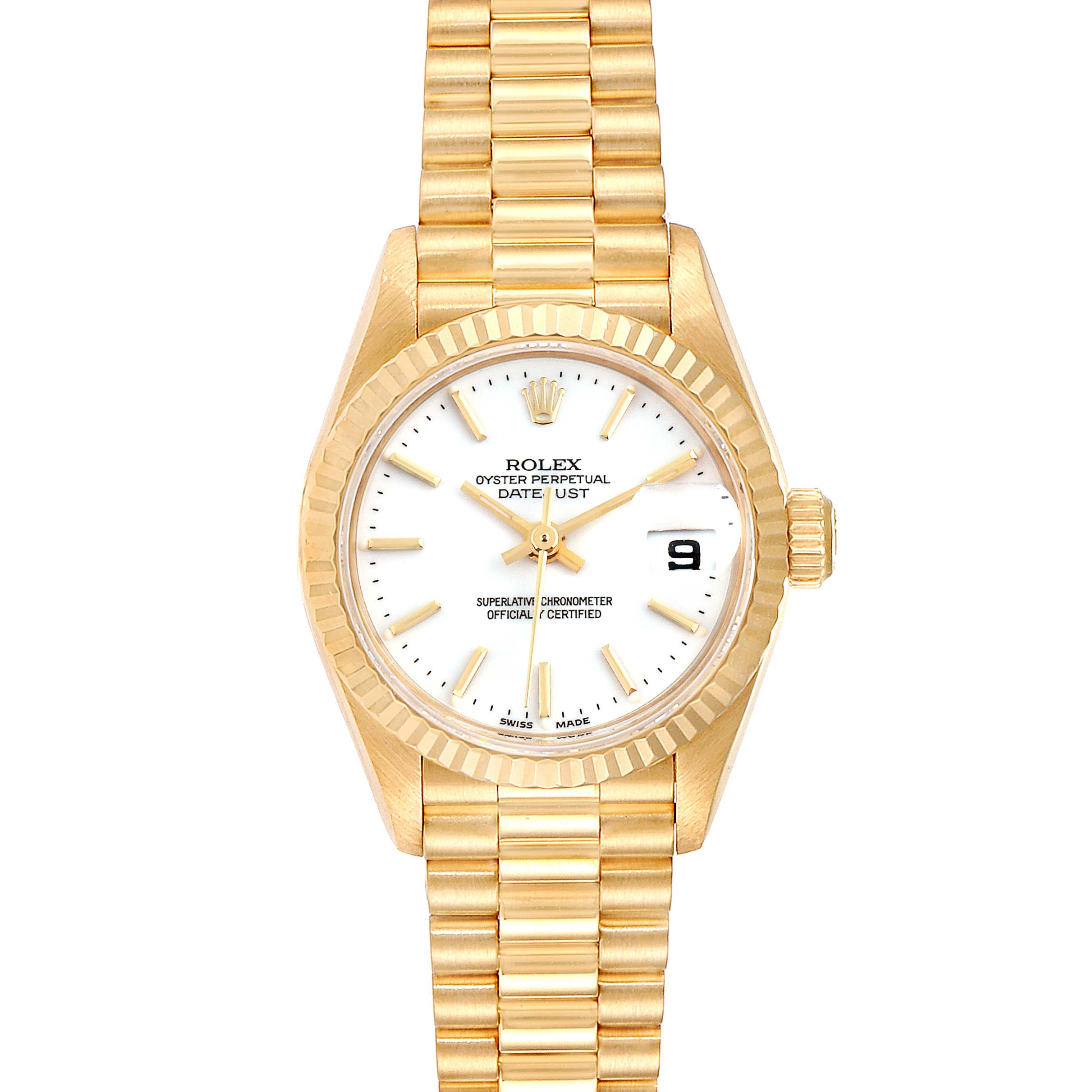 Rolex President Datejust 18k Yellow Gold White Dial Ladies Watch 79178 SwissWatchExpo