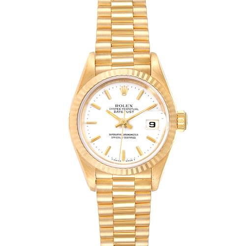 Photo of Rolex President Datejust 26 Yellow Gold White Dial Ladies Watch 69178
