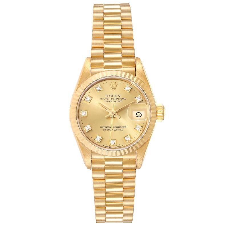 Rolex President Datejust Yellow Gold Diamond Ladies Watch 69178 SwissWatchExpo