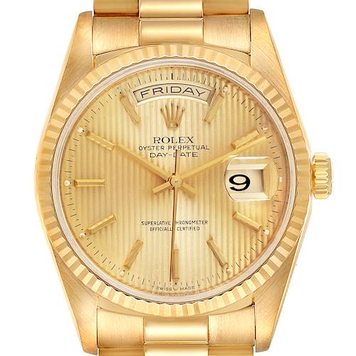 Photo of Rolex President Day-Date Yellow Gold Tapestry Dial Mens Watch 18238