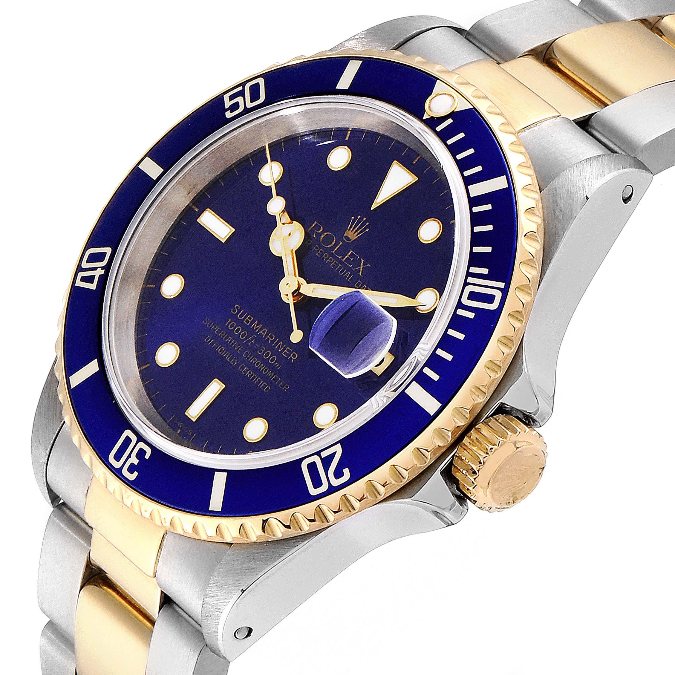 Rolex Submariner 40mm Blue Dial Steel Yellow Gold Mens Watch 16613 SwissWatchExpo