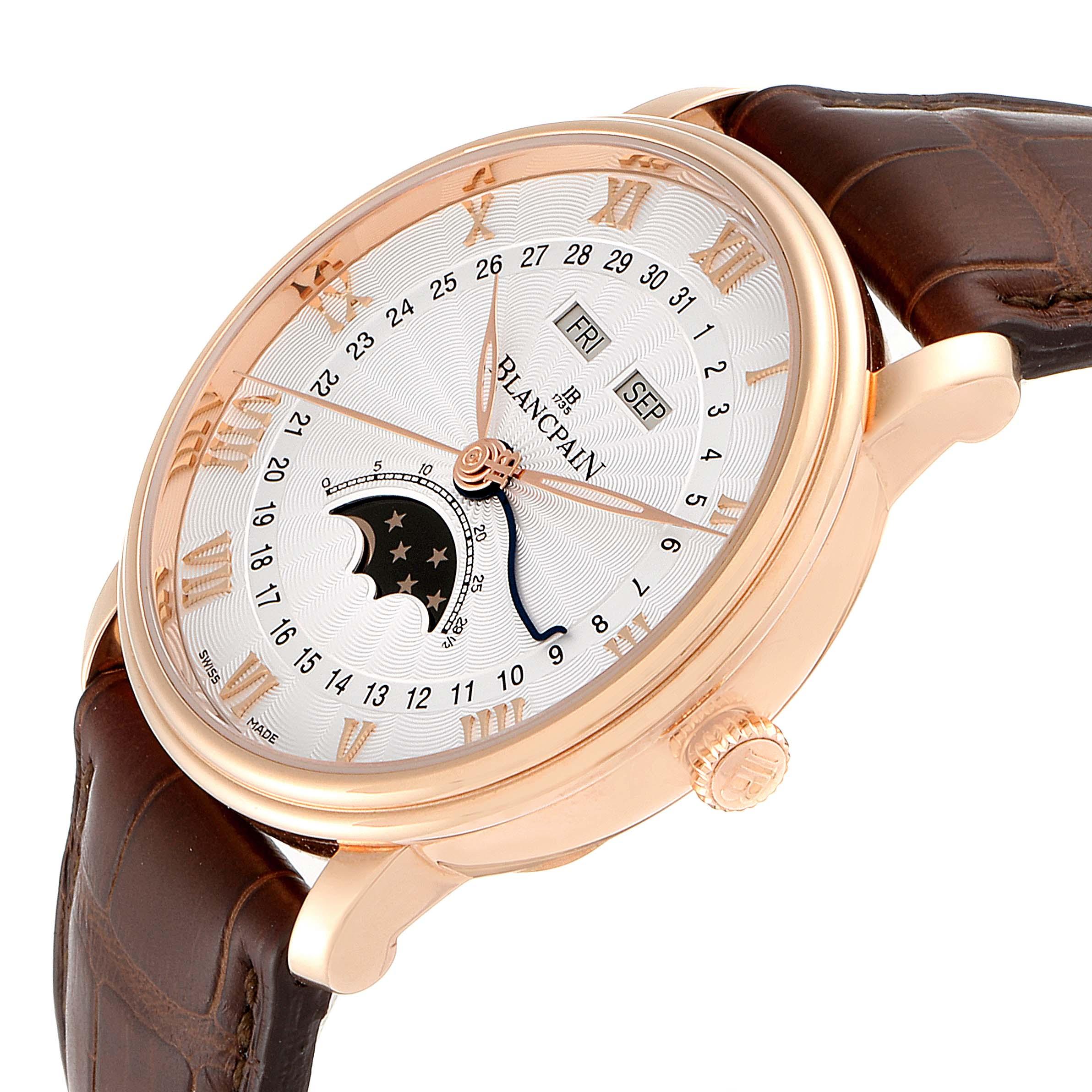 Blancpain Villeret Moonphase Triple Calendar Rose Gold Mens Watch 6685-3642a-55b SwissWatchExpo