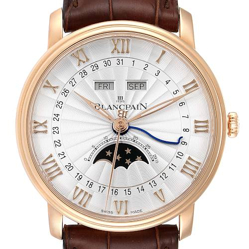Blancpain Villeret Moonphase Triple Calendar Rose Gold Mens Watch 6685-3642a-55b