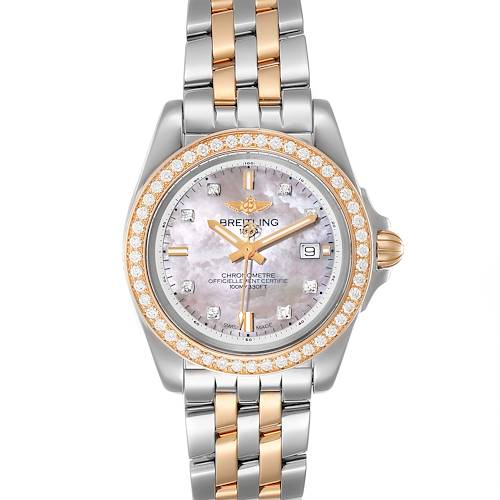 Breitling Galactic 32 Steel Rose Gold MOP Diamond Ladies Watch C71330 Box Papers