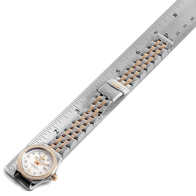 Breitling Galactic 32 Steel Rose Gold MOP Diamond Ladies Watch C71330 Box Papers SwissWatchExpo