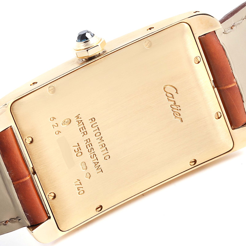 Cartier Tank Americaine 18K Yellow Gold Automatic Mens Watch W2603156 SwissWatchExpo