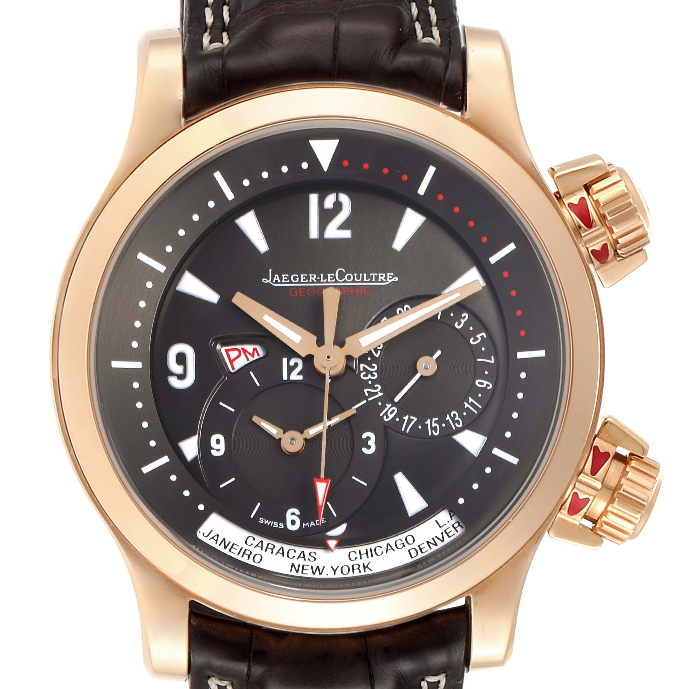 Jaeger Lecoultre Master Compressor World TimeRose Gold Watch 146.2.83 SwissWatchExpo