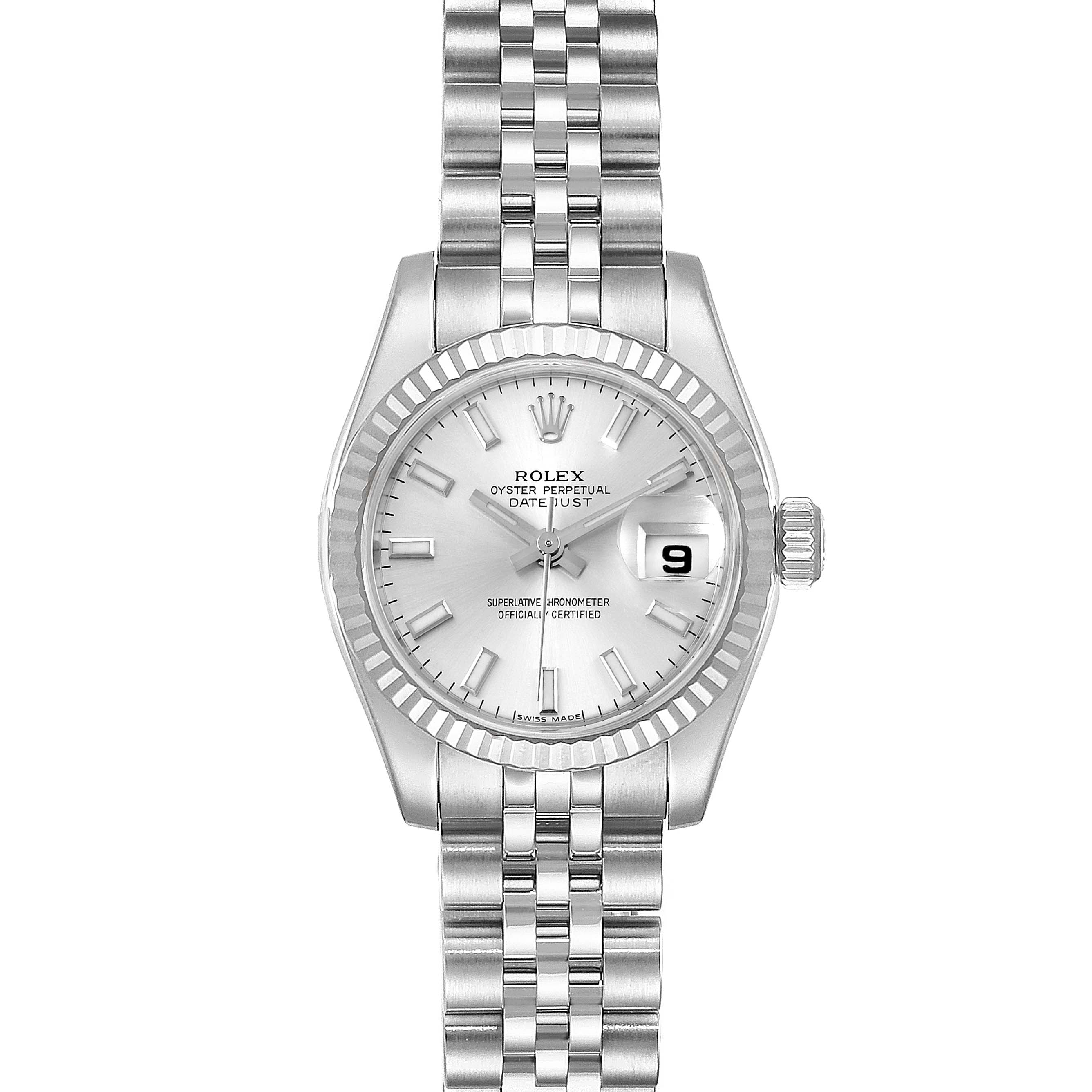 Photo of Rolex Datejust 26 Steel 18K White Gold Silver Dial Ladies Watch 179174