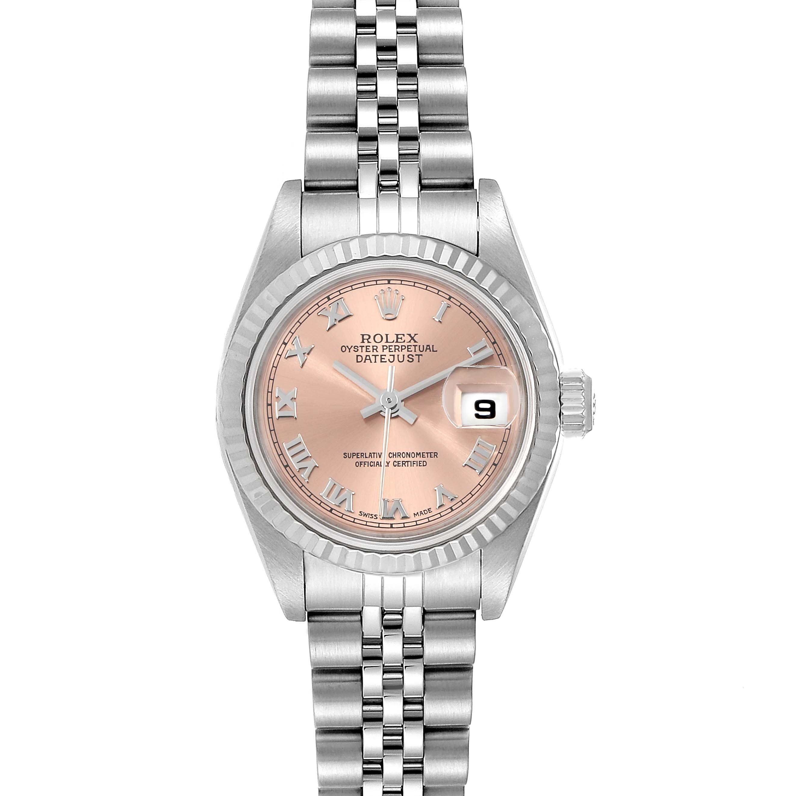Rolex Datejust 26 Steel White Gold Salmon Dial Ladies Watch 79174 Box Papers SwissWatchExpo
