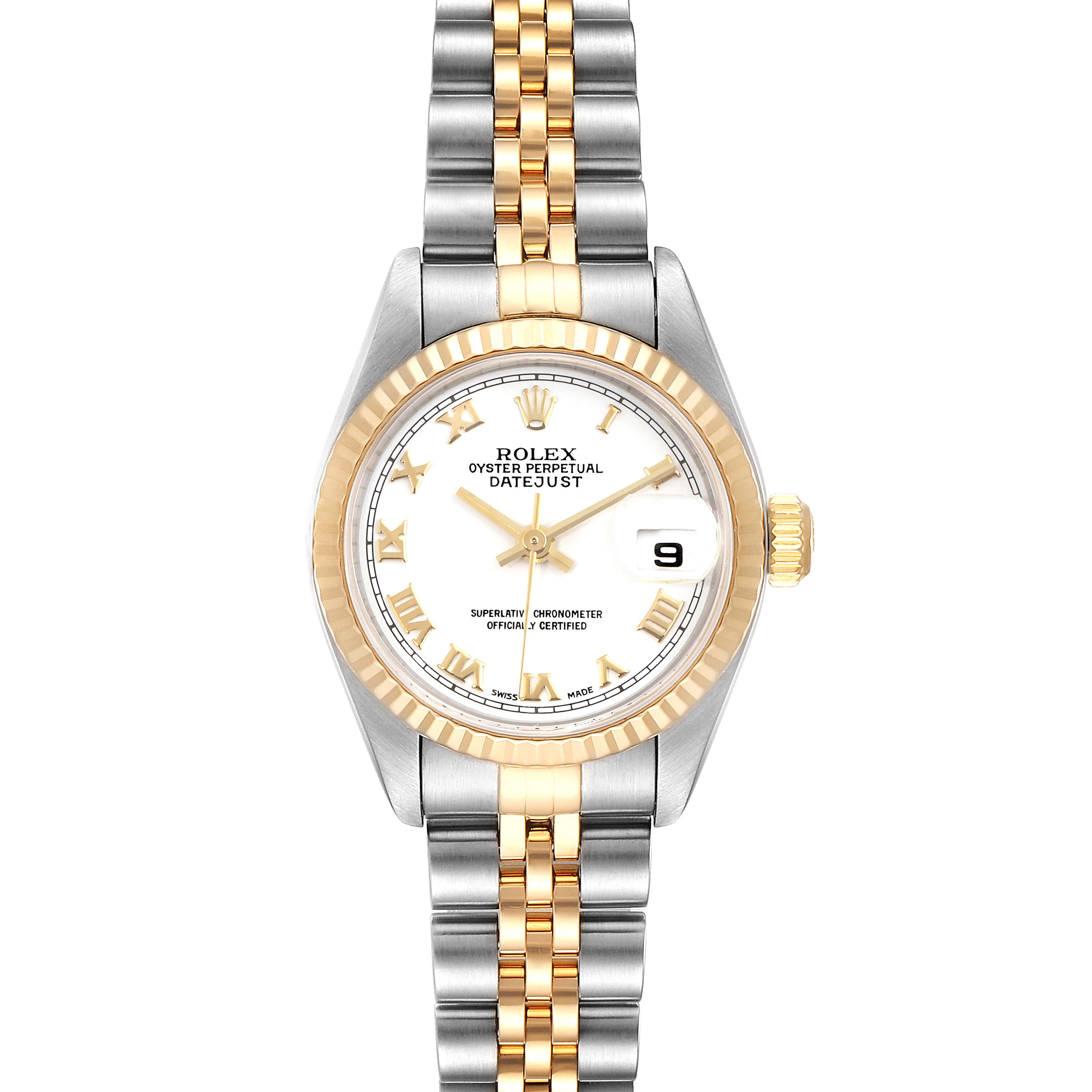Photo of Rolex Datejust 26 Steel Yellow Gold White Dial Ladies Watch 79173 Box Papers