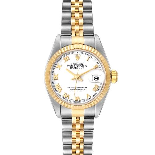 Photo of Rolex Datejust 26 Steel Yellow Gold White Roman Dial Mens Watch 79173