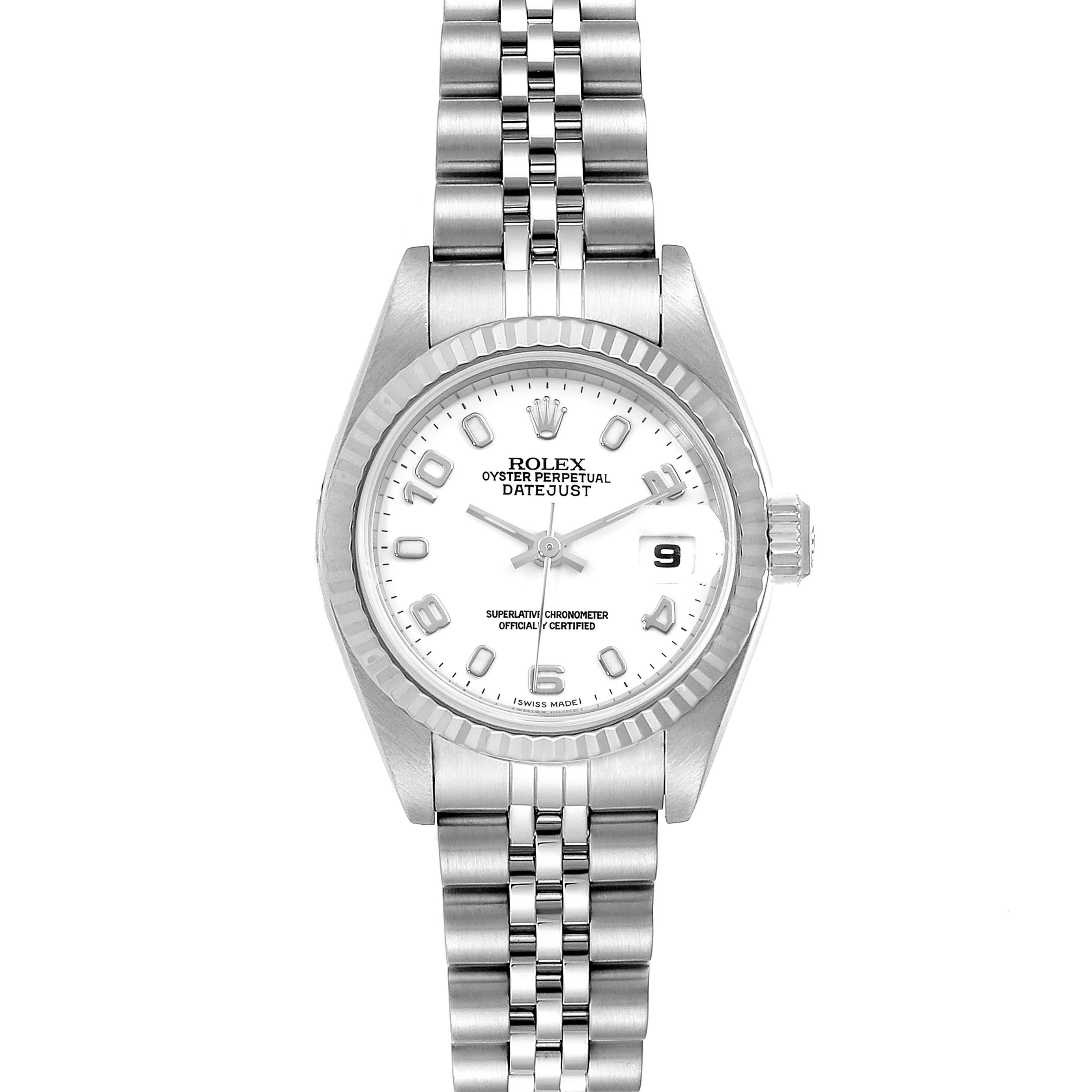 Photo of Rolex Datejust Ladies Steel 18k White Gold Watch 79174 Box Paper