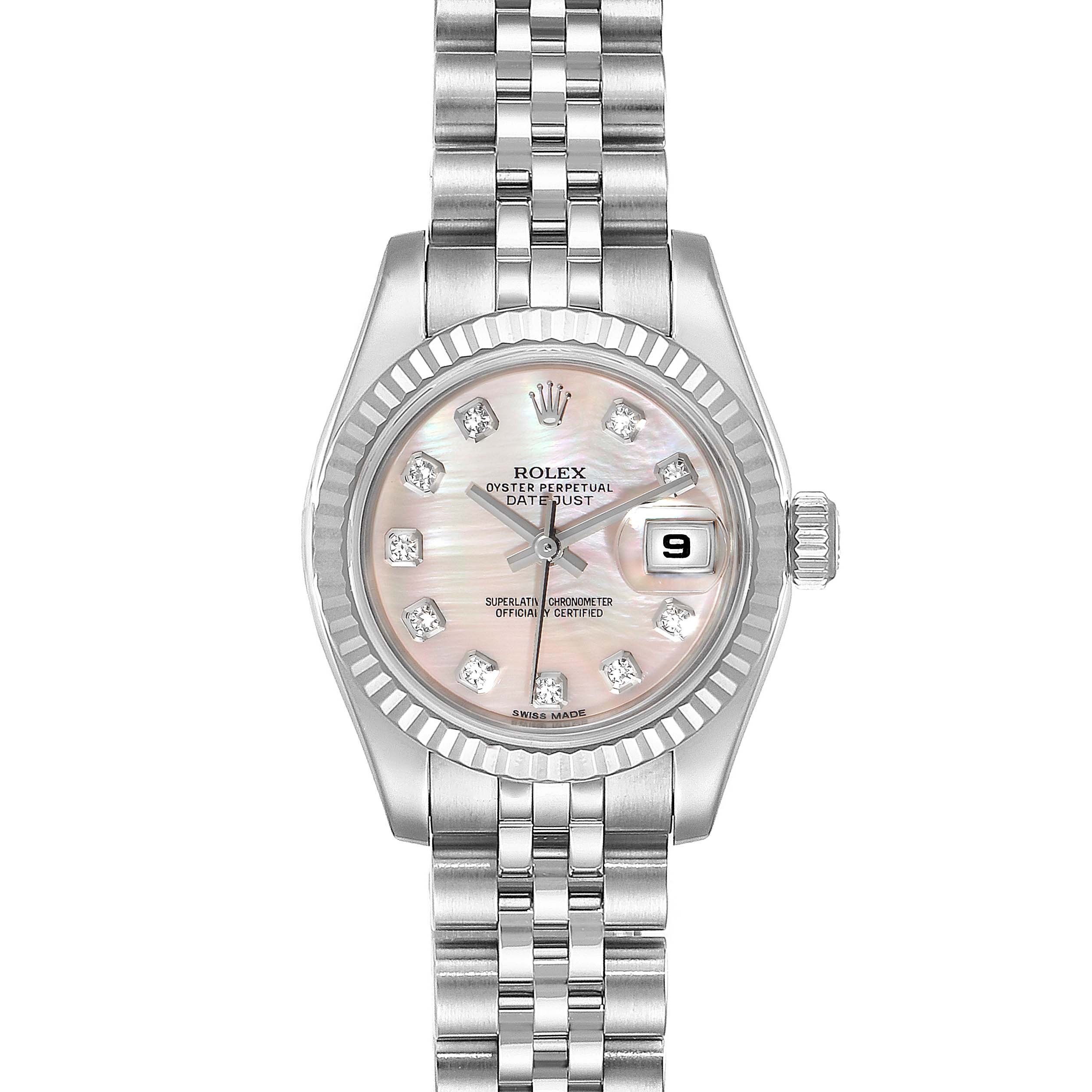 Photo of Rolex Datejust Steel White Gold MOP Diamond Ladies Watch 179174 Box Card