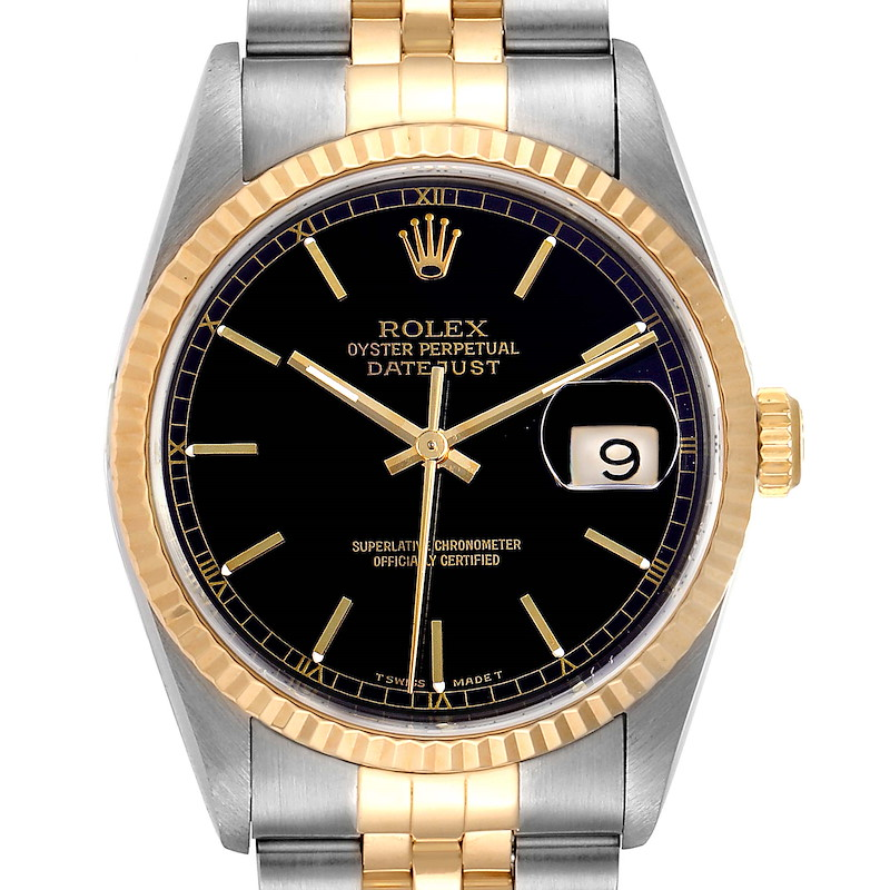 Rolex Datejust Steel Yellow Gold Black Dial Mens Watch 16233 Papers SwissWatchExpo