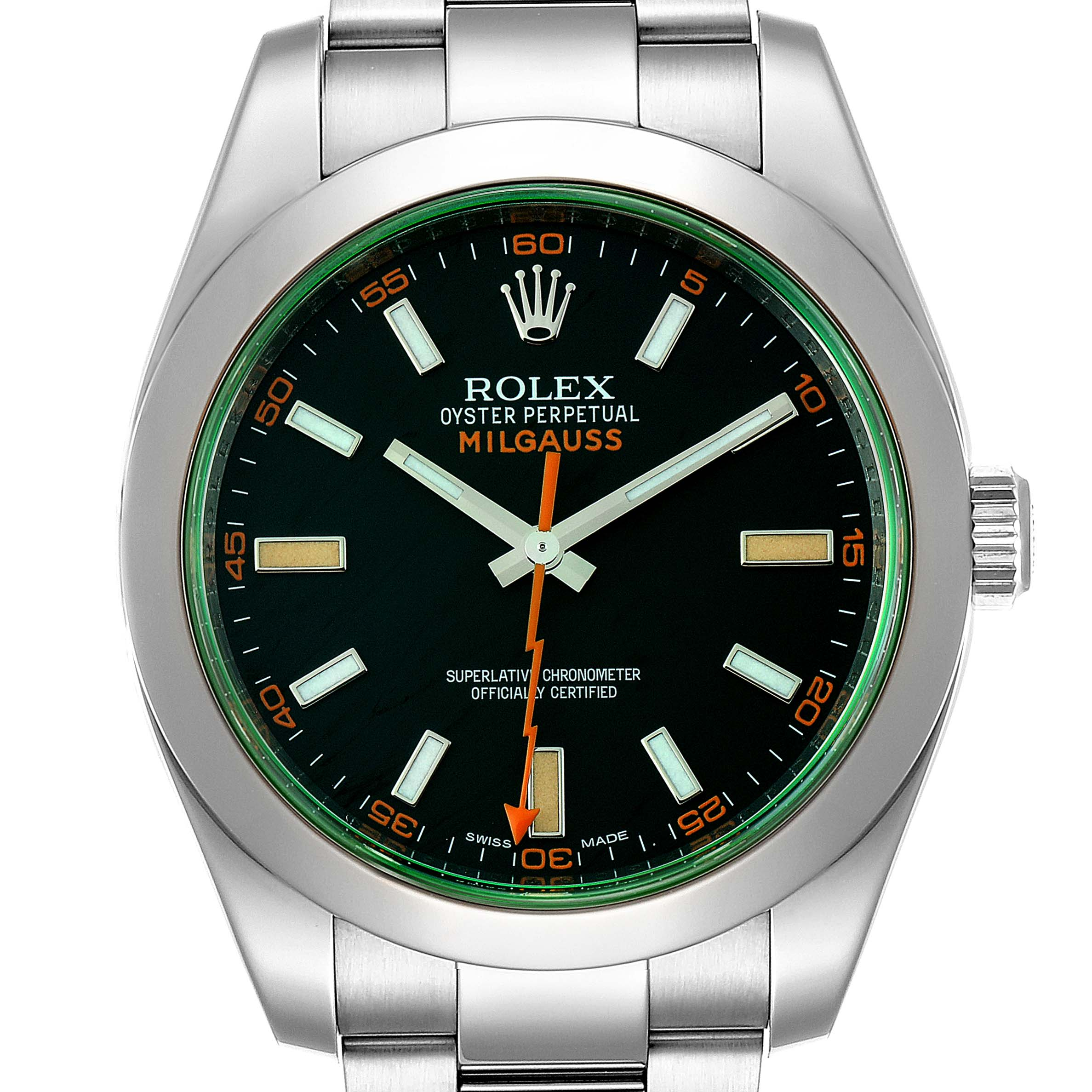 Photo of Rolex Milgauss Black Dial Green Crystal Steel Mens Watch 116400V Box Card