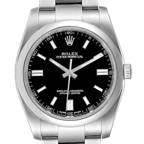 Photo of Rolex Oyster Perpetual 36 Black Dial Steel Mens Watch 116000 Box Card