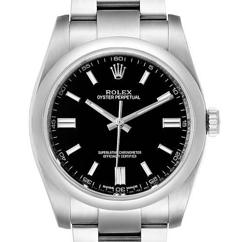 Photo of Rolex Oyster Perpetual Black Dial Steel Mens Watch 116000 Unworn