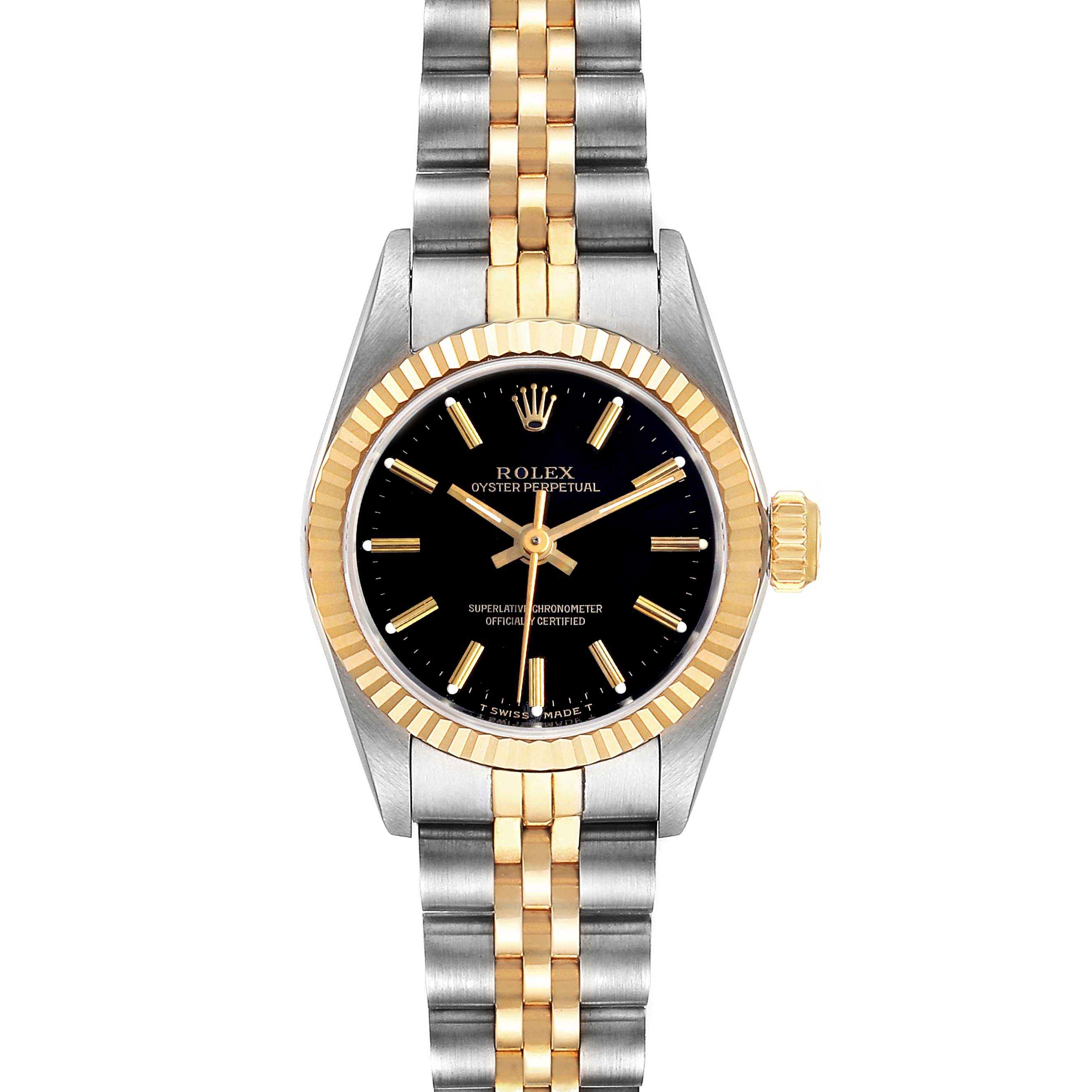 Photo of Rolex Oyster Perpetual Black Dial Steel Yellow Gold Ladies Watch 67193