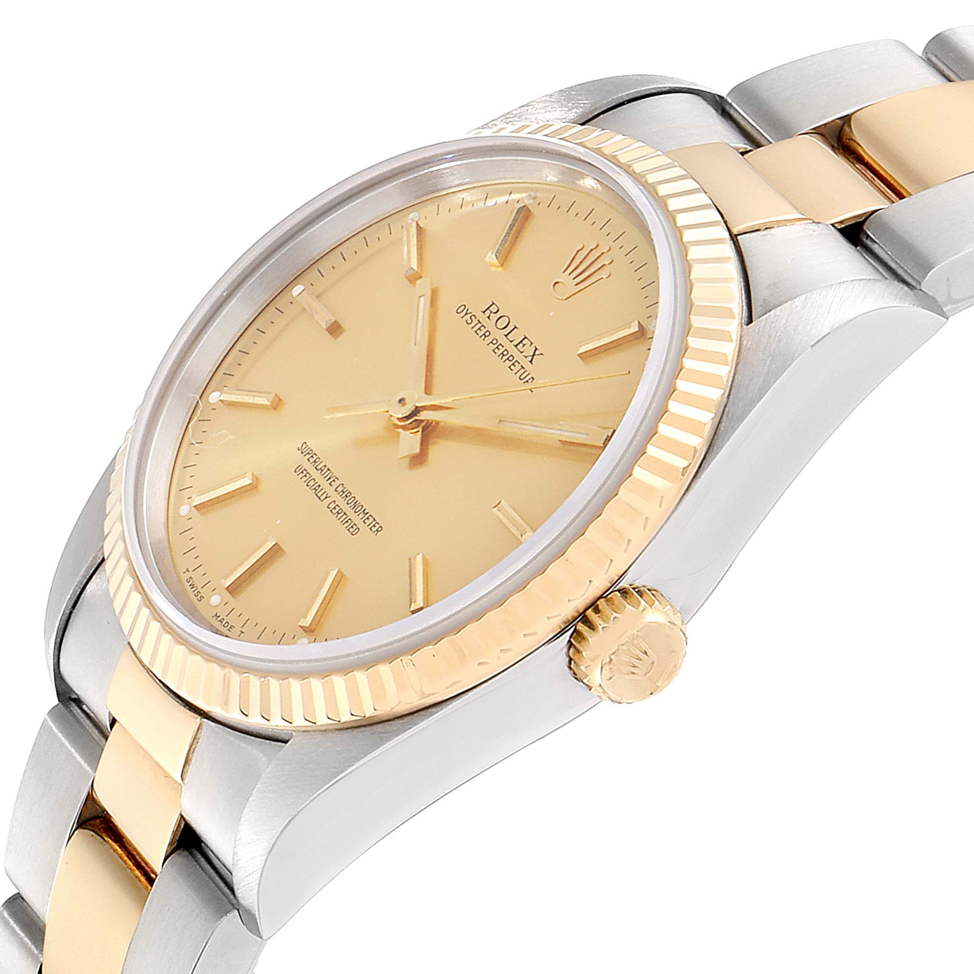 Rolex Oyster Perpetual NonDate Steel 18k Yellow Gold Mens Watch 14233 SwissWatchExpo