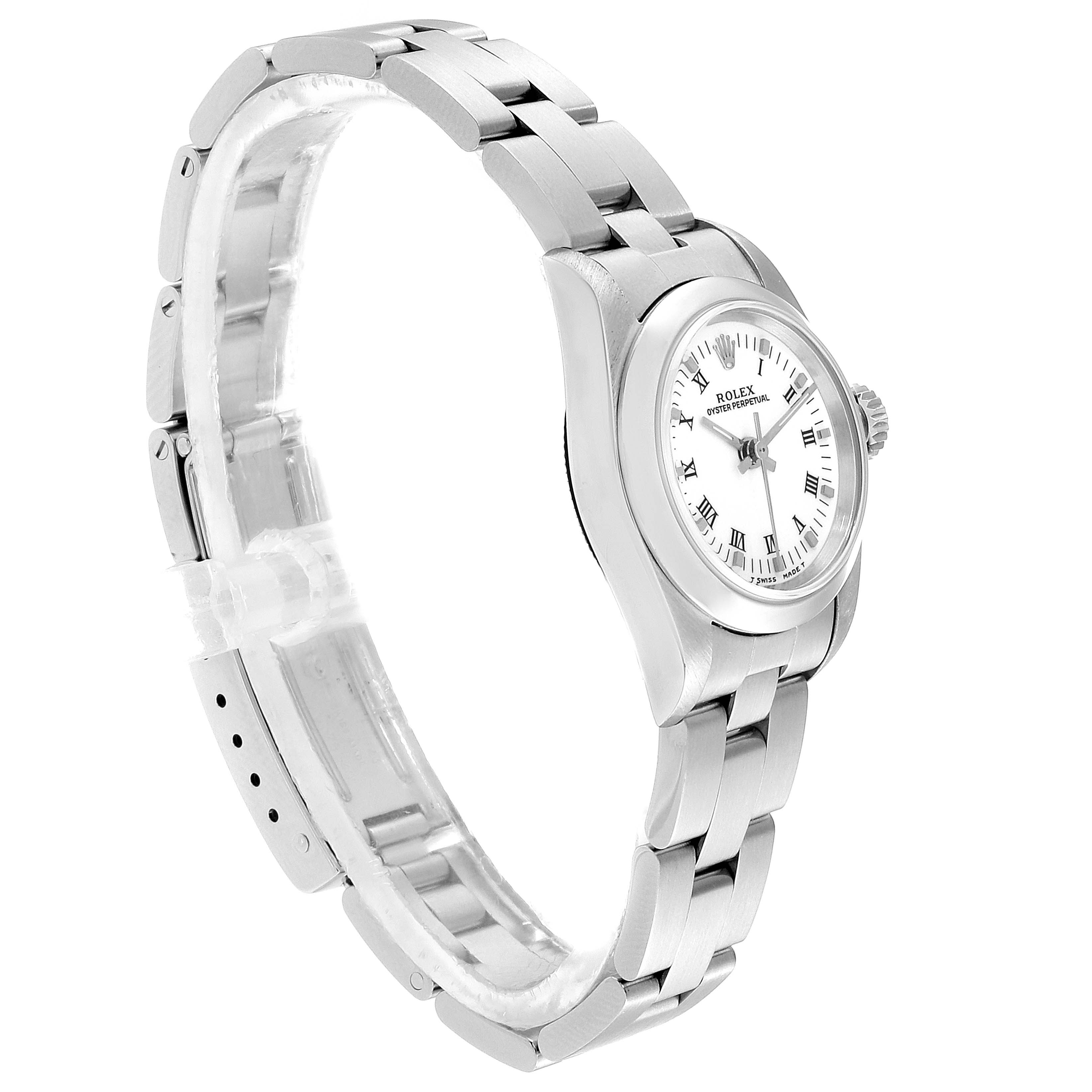 Rolex Oyster Perpetual Nondate White Dial Steel Ladies Watch 67180 SwissWatchExpo
