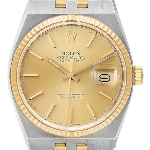 Photo of Rolex Oysterquartz Datejust Steel Yellow Gold Mens Watch 17013