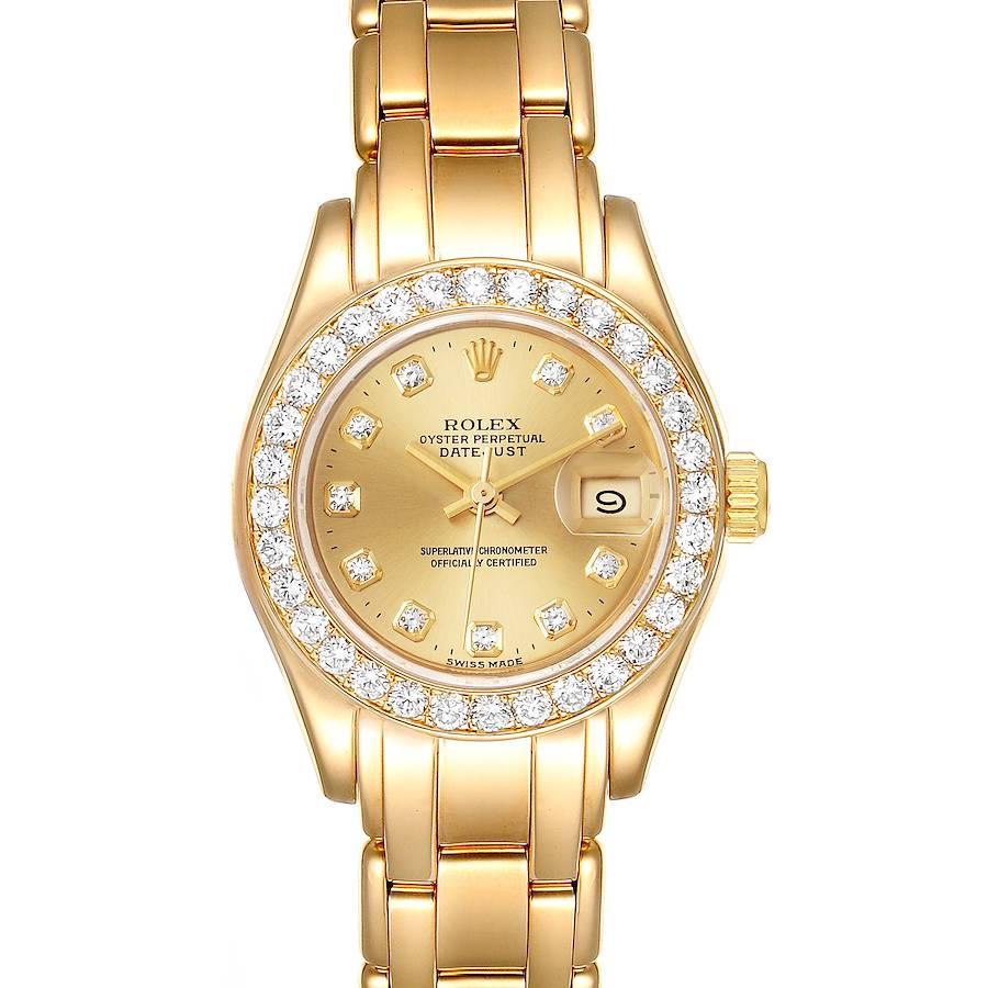 Rolex Pearlmaster Yellow Gold Diamond Ladies Watch 69298 Box Papers SwissWatchExpo
