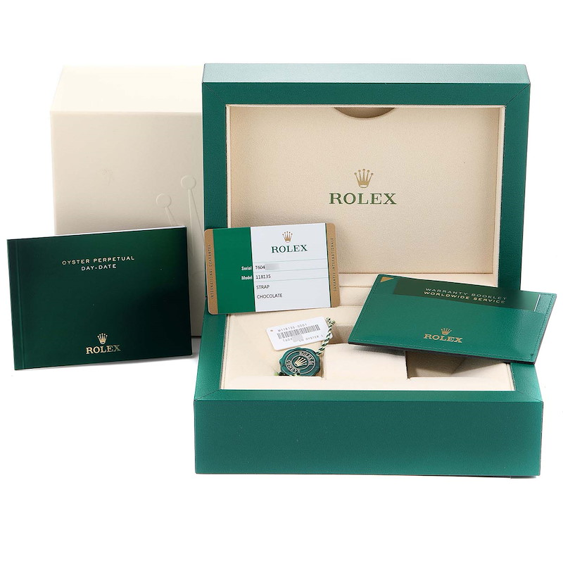 Rolex President Day Date 36 EveRose Gold Mens Watch 118135 Box Card SwissWatchExpo