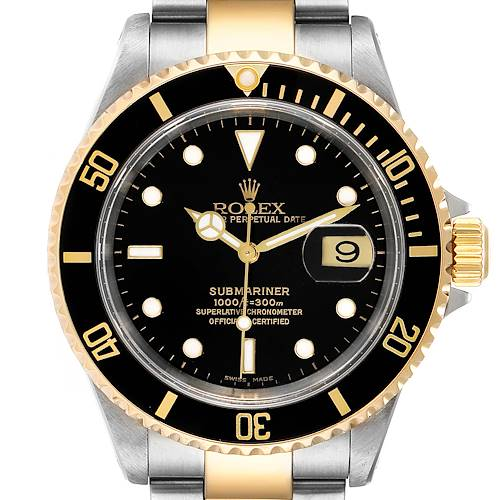 Photo of Rolex Submariner Black Dial Steel Yellow Gold Mens Watch 16613 NOS Box Papers
