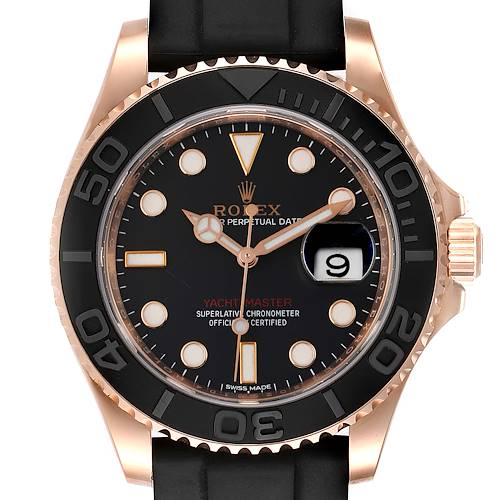 Photo of Rolex Yachtmaster 40mm Everose Gold Rubber Strap Mens Watch 116655
