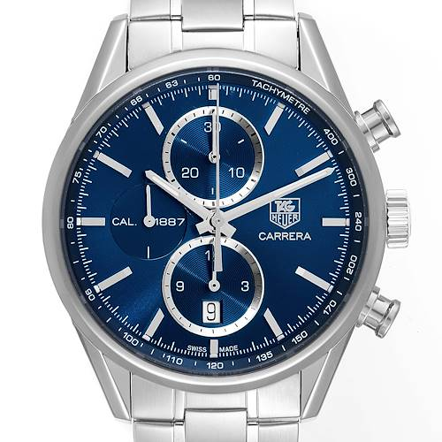 Photo of Tag Heuer Carrera 1887 Chronograph Blue Dial Steel Mens Watch CAR2115