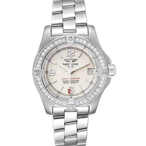 Breitling Colt Oceane Stainless Steel Diamond Ladies Watch A77380 Box Papers