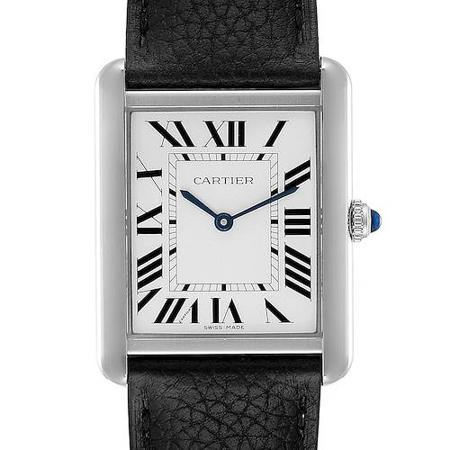 Photo of Cartier Tank Solo Steel Silver Dial Black Strap Unisex Watch W1018355 Box Papers