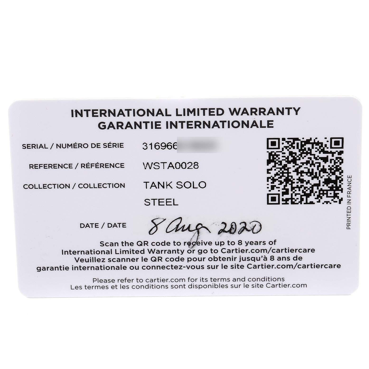 Cartier Tank Solo Steel Silver Dial Black Strap Unisex Watch W1018355 Box Papers SwissWatchExpo