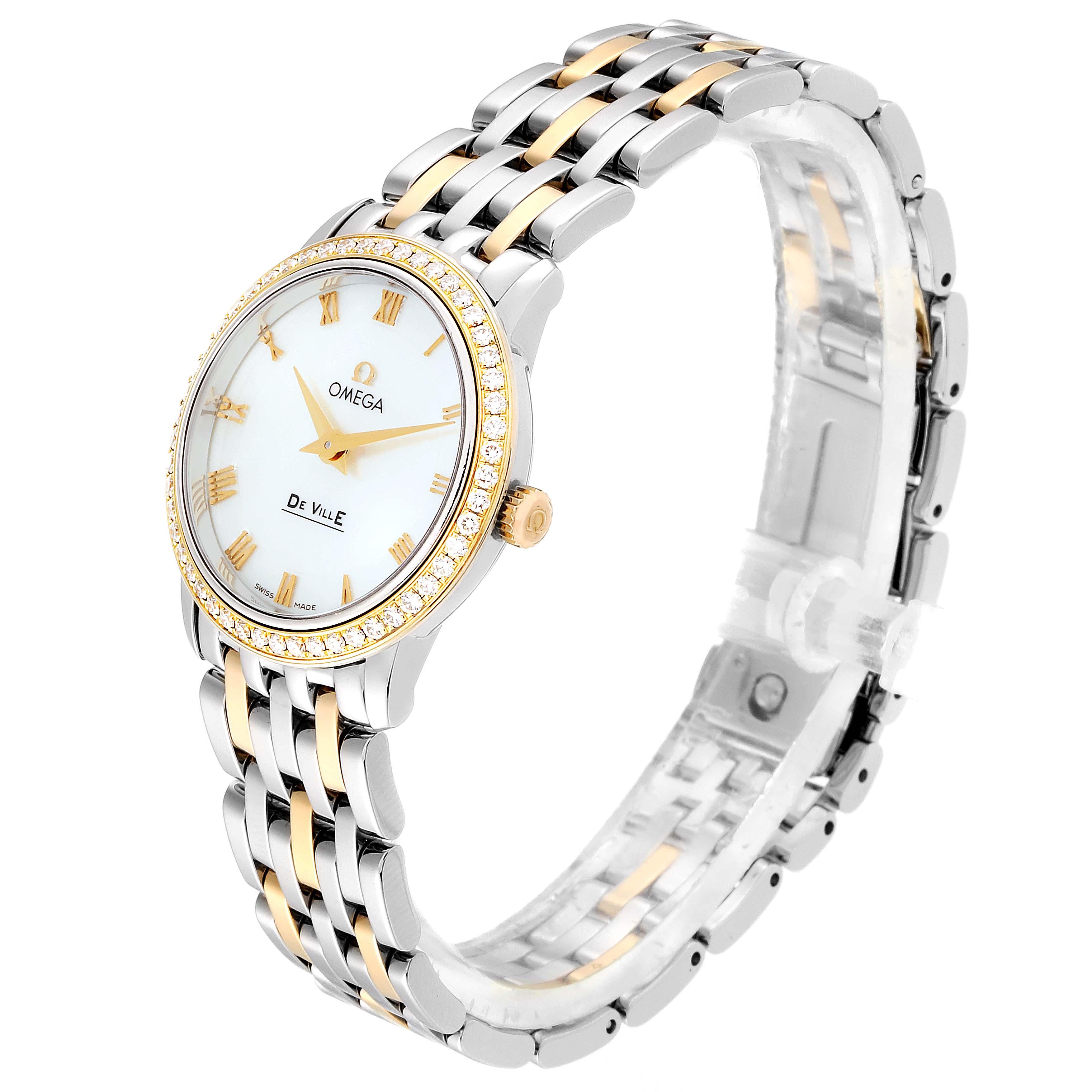 Omega DeVille Prestige Steel Yellow Gold Diamond Watch 413.25.27.60.05.001 SwissWatchExpo