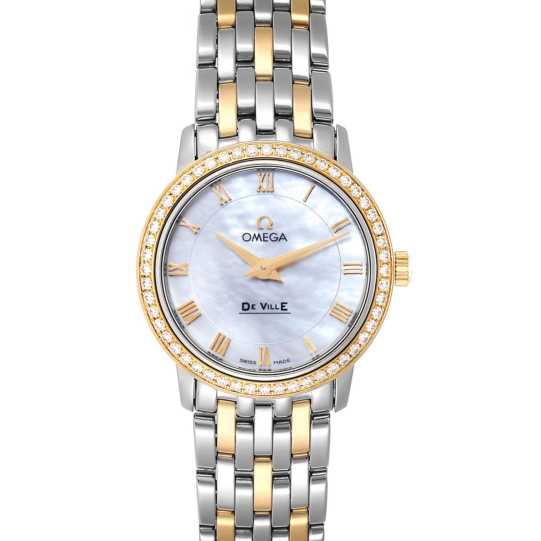 Omega DeVille Prestige Steel Yellow Gold Diamond Watch 413.25.27.60.05.001