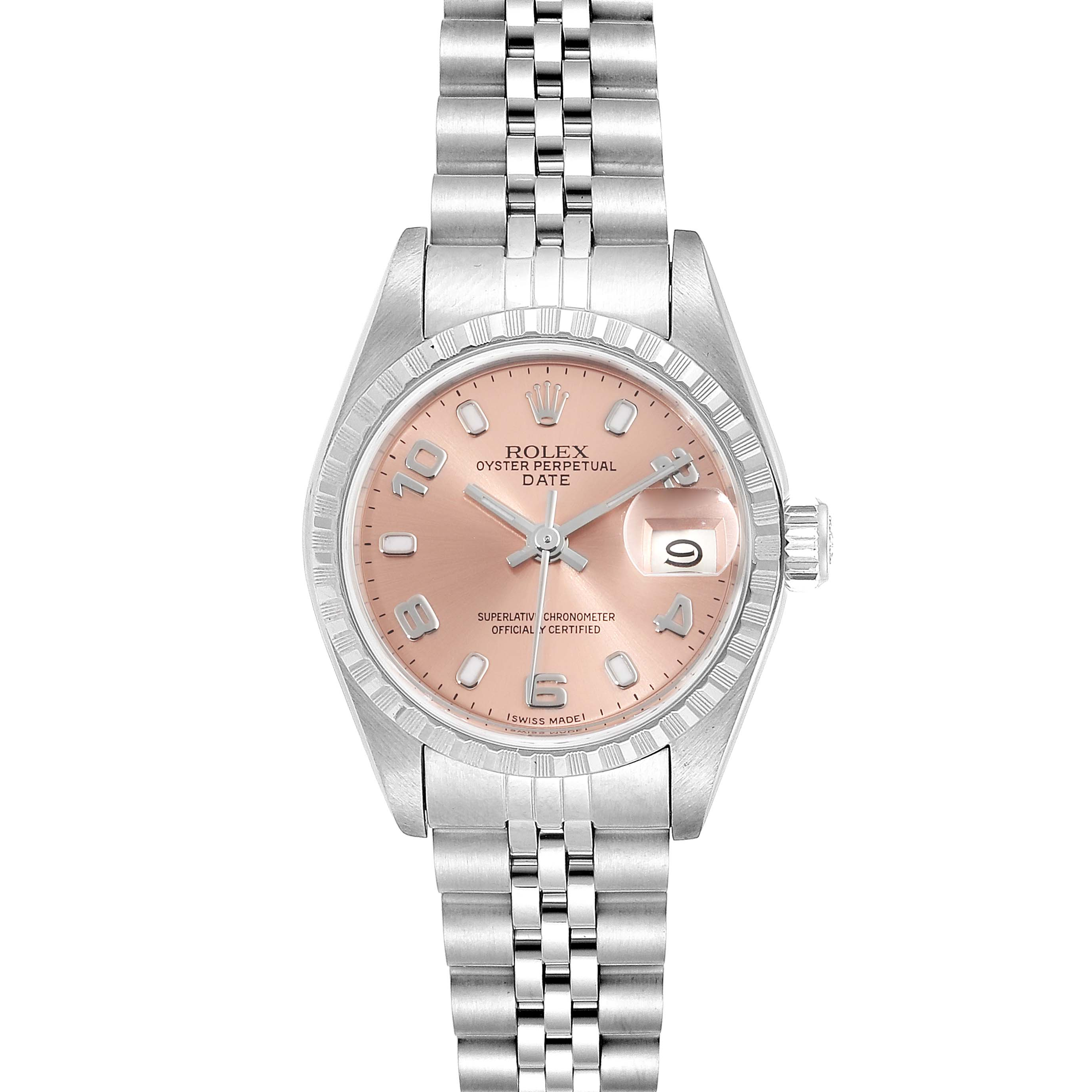 Photo of Rolex Date Salmon Dial Jubilee Bracelet Steel Ladies Watch 69240 Box Papers