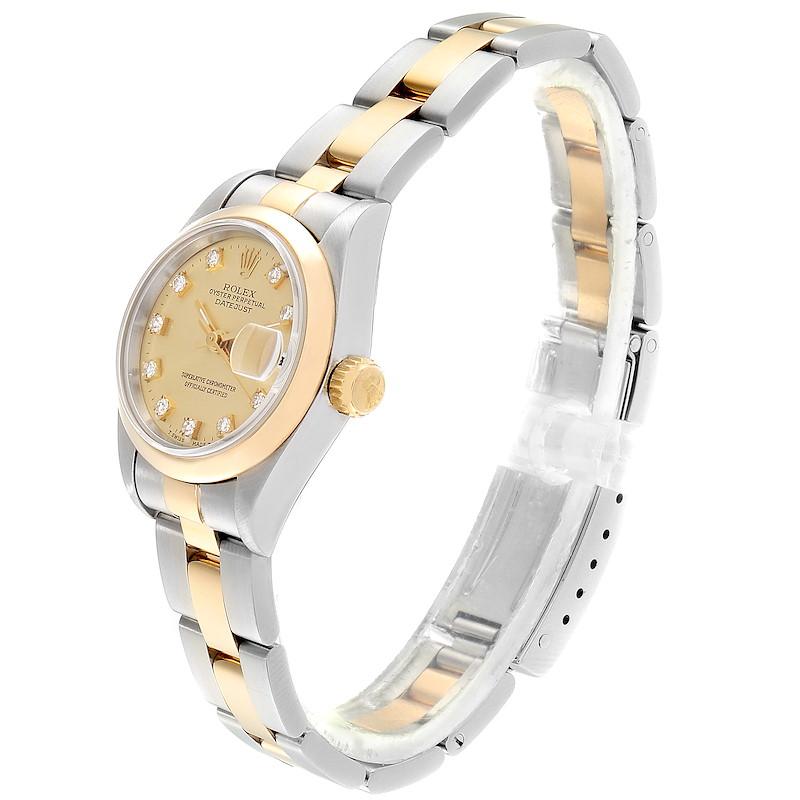 Rolex Datejus Ladies Steel 18k Yellow Gold Diamond Dial Watch 69163 SwissWatchExpo