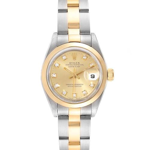 Photo of Rolex Datejus Ladies Steel 18k Yellow Gold Diamond Dial Watch 69163
