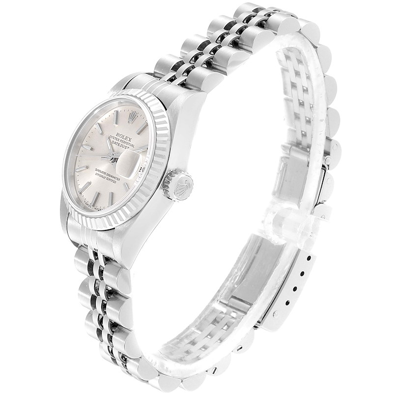 Rolex Datejust 26 Steel White Gold Silver Dial Ladies Watch 79174 Box Papers SwissWatchExpo